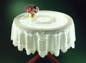 "TRADITIONAL FLORAL CREAM LACE STAIN RELEASE TABLE CLOTH 60"" ROUND £12.99 EACH"